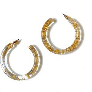 Glitter Silver Clear Resin Hoop Earrings